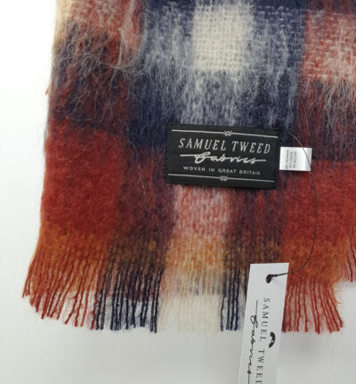 'Samuel Tweed' label on a red check scarf