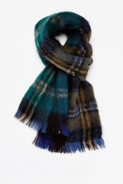Blue and green check scarf